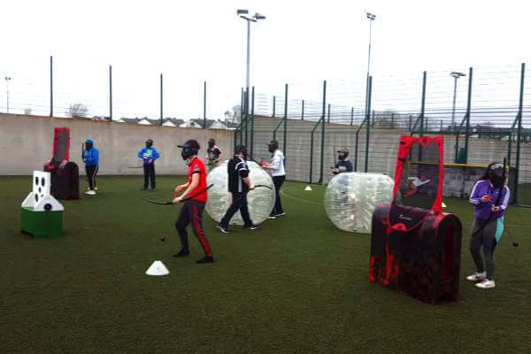 Group of students playing Archery Tag at Astrobay Galway.