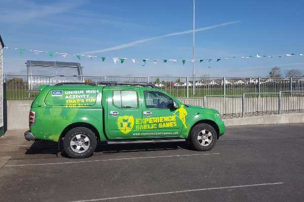 Experience Gaelic Games SUV parked outside Astrobay office