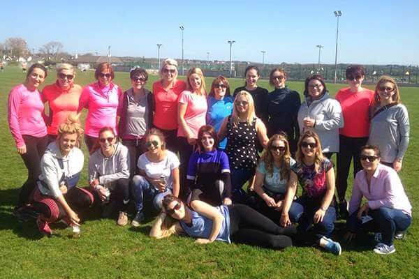 A group of ladies enjoying a Hen party event at Astrobay Galway outdoor pitch.