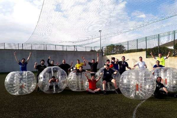 EA Group photo at Astrobay Bubble Football